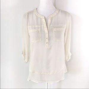 Express semi-sheer cream popover blouse top XS